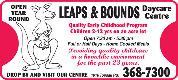 Leaps & Bounds Day Care Centre Ltd (709-368-7300) - Display Ad -