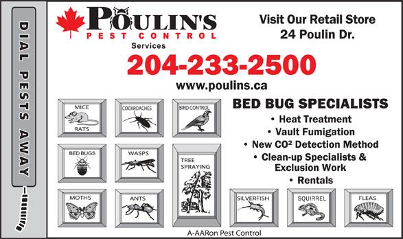Poulin's Pest Control Services (204-233-2500) - Annonce illustrée======= -