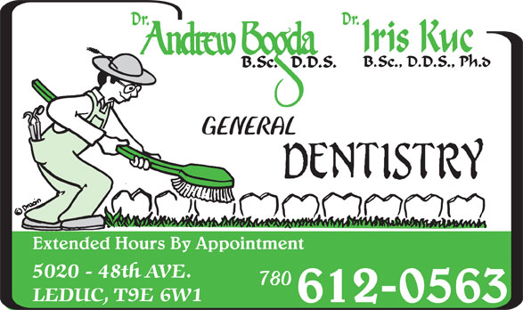 Bogda Andrew Dr (780-986-1323) - Display Ad - GENERAL Extended Hours By Appointment 780 612-0563