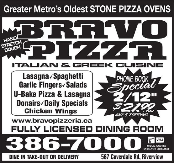 Bravo Pizza (506-386-7000) - Annonce illustrée======= -
