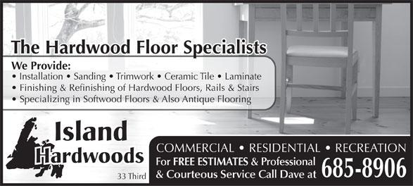 Island Hardwoods Inc (709-685-8906) - Annonce illustrée======= -