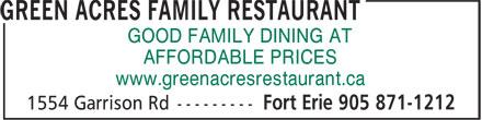 Ads Green Acres Family Restaurant