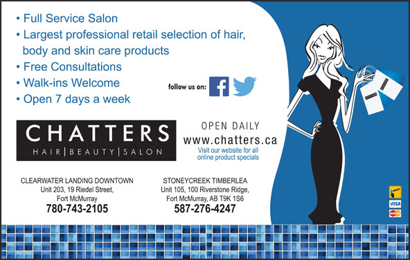 Chatters Salon (780-743-2105) - Display Ad - SSALO NCH CHATTER SH SALO UT TTER BE AIR