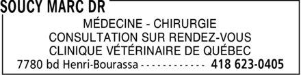 Clinique Vétérinaire de Québec (418-623-0405) - Display Ad - MÉDECINE CHIRURGIE CONSULTATION SUR RENDEZ-VOUS CLINIQUE VÉTÉRINAIRE DE QUÉBEC MÉDECINE CHIRURGIE CONSULTATION SUR RENDEZ-VOUS CLINIQUE VÉTÉRINAIRE DE QUÉBEC