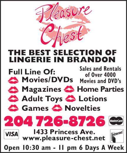 Pleasure Chest Boutique (204-726-8726) - Annonce illustrée======= - THE BEST SELECTION OF LINGERIE IN BRANDON Sales and Rentals of Over 4000 Movies and DVD s Open 10:30 am - 11 pm 6 Days A Week
