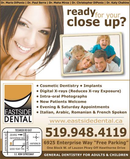 Eastside Dental Office (519-948-4119) - Annonce illustrée======= -