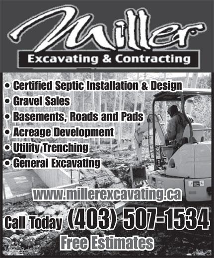 Miller Excavating & Contracting (403-507-1534) - Annonce illustrée======= -
