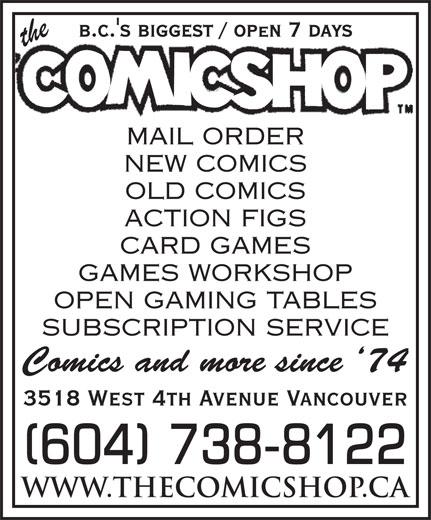The Comicshop (604-738-8122) - Annonce illustrée======= - (604) 738-8122 (604) 738-8122