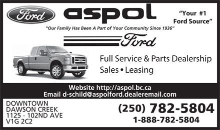 Ford Aspol Motors Rentals Ltd (250-782-5804) - Display Ad -