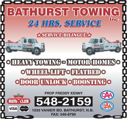 Bathurst Towing (506-548-2159) - Display Ad -