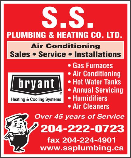 S S Plumbing & Heating Co Ltd (204-222-0723) - Annonce illustrée======= -