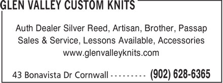 Glen Valley Custom Knits (902-628-6365) - Annonce illustrée======= - Auth Dealer Silver Reed, Artisan, Brother, Passap Sales & Service, Lessons Available, Accessories www.glenvalleyknits.com