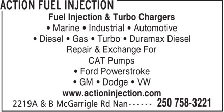 Action Fuel Injection (250-758-3221) - Annonce illustrée======= - Fuel Injection & Turbo Chargers Marine   Industrial   Automotive Diesel   Gas   Turbo   Duramax Diesel Repair & Exchange For CAT Pumps Ford Powerstroke GM   Dodge   VW www.actioninjection.com  Fuel Injection & Turbo Chargers Marine   Industrial   Automotive Diesel   Gas   Turbo   Duramax Diesel Repair & Exchange For CAT Pumps Ford Powerstroke GM   Dodge   VW www.actioninjection.com  Fuel Injection & Turbo Chargers Marine   Industrial   Automotive Diesel   Gas   Turbo   Duramax Diesel Repair & Exchange For CAT Pumps Ford Powerstroke GM   Dodge   VW www.actioninjection.com
