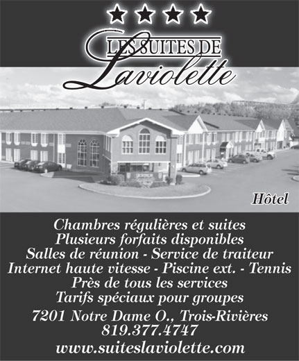 Hôtel Les Suites De Laviolette (819-377-4747) - Annonce illustrée======= -