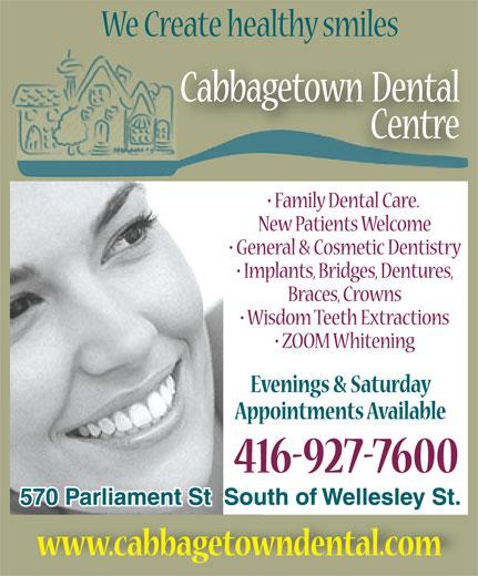 Cabbagetown Dental Centre (416-927-7600) - Display Ad -