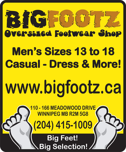 BigFootz Mens Oversized Footwear Shop (204-415-1009) - Annonce illustrée======= -