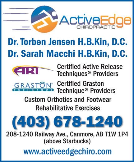 Ads Active Edge Chiropractic - Dr Torben A Jensen H.B Kin, D.C. Dr. Sarah E. Macchi H.B Kin, D.C.