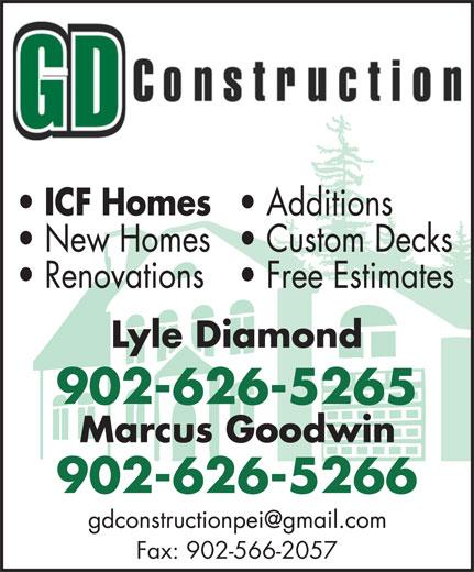 GD Construction (902-626-5266) - Annonce illustrée======= - 902-626-5265 902-626-5266 Fax: 902-566-2057