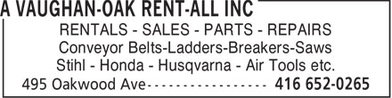 A Vaughan-Oak Rent-All Inc (416-652-0265) - Display Ad - RENTALS - SALES - PARTS - REPAIRS Conveyor Belts-Ladders-Breakers-Saws Stihl - Honda - Husqvarna - Air Tools etc.  RENTALS - SALES - PARTS - REPAIRS Conveyor Belts-Ladders-Breakers-Saws Stihl - Honda - Husqvarna - Air Tools etc.  RENTALS - SALES - PARTS - REPAIRS Conveyor Belts-Ladders-Breakers-Saws Stihl - Honda - Husqvarna - Air Tools etc.  RENTALS - SALES - PARTS - REPAIRS Conveyor Belts-Ladders-Breakers-Saws Stihl - Honda - Husqvarna - Air Tools etc.