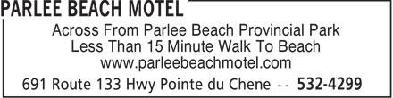 Parlee Beach Motel (506-532-4299) - Annonce illustrée======= -