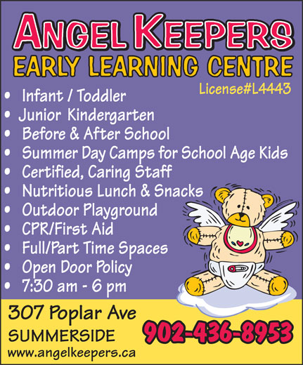 Angel Keepers Early Learning Centre (902-436-8953) - Annonce illustrée======= - 902-436-8953 www.angelkeepers.ca
