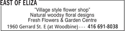 East Of Eliza (416-691-8038) - Annonce illustrée======= - Village style flower shop Natural woodsy floral designs Fresh Flowers & Garden Centre