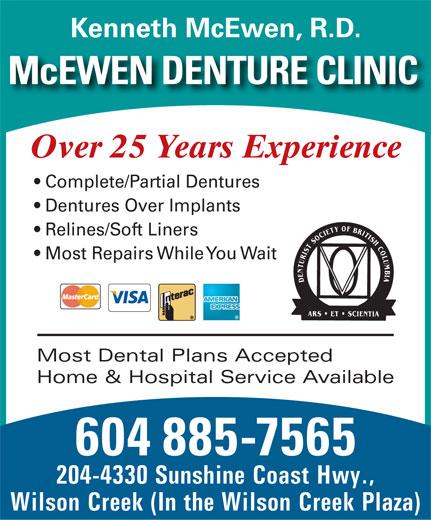 McEwen Denture Clinic Ltd (604-885-7565) - Annonce illustrée======= -
