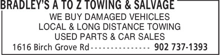 A To Z Towing & Salvage (902-737-1393) - Annonce illustrée======= - WE BUY DAMAGED VEHICLES LOCAL & LONG DISTANCE TOWING USED PARTS & CAR SALES