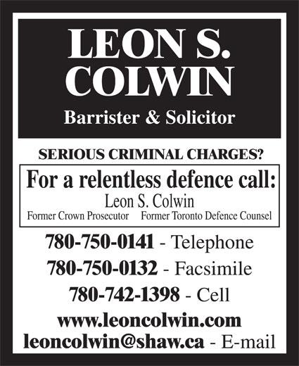Leon Colwin (780-750-0141) - Annonce illustrée======= -