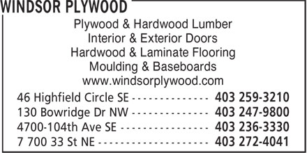 Windsor Plywood (403-272-4041) - Annonce illustrée======= -