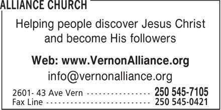 Alliance Church (250-545-7105) - Display Ad -