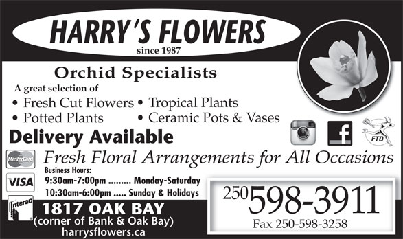 Harry's Flowers (250-598-3911) - Display Ad - HARRY S FLOWERS since 1987 Orchid Specialists A great selection of Tropical Plants Fresh Cut Flowers Ceramic Pots & Vases Potted Plants Delivery Available Fresh Floral Arrangements for All Occasions Business Hours: 9:30am-7:00pm ......... Monday-Saturday 10:30am-6:00pm ..... Sunday & Holidays 250 1817 OAK BAY 598-3911 (corner of Bank & Oak Bay) Fax 250-598-3258 harrysflowers.ca