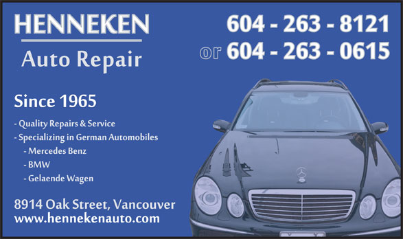 Henneken Auto Sales & Service Ltd (604-263-8121) - Display Ad -