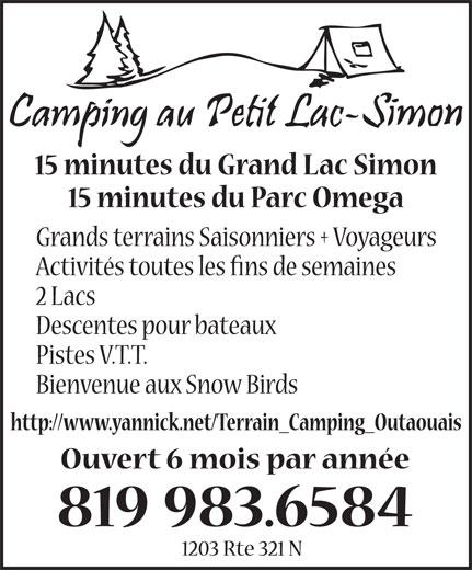 Camping Québec (819-983-6584) - Annonce illustrée======= -