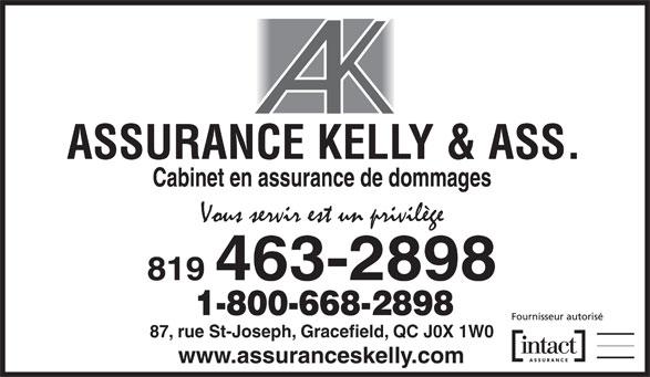 Assurance Kelly & Ass Inc (819-463-2898) - Annonce illustrée======= - 819 463-2898 1-800-668-2898 87, rue St-Joseph, Gracefield, QC J0X 1W0 www.assuranceskelly.com Cabinet en assurance de dommages