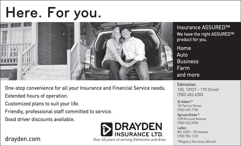 Drayden Insurance Ltd (780-482-6300) - Annonce illustrée======= -