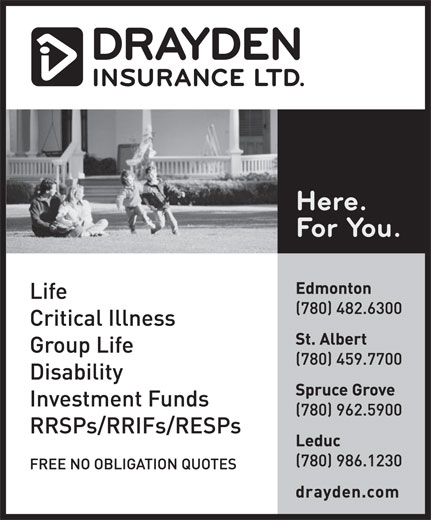 Drayden Insurance Ltd (780-482-6300) - Display Ad -