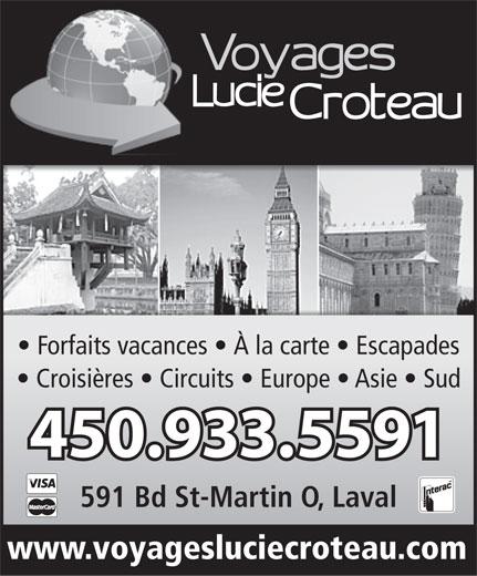 Voyages Lucie Croteau (450-933-5591) - Annonce illustrée======= -