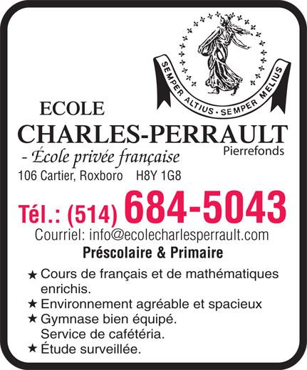 Ecole Charles-Perrault (Pierrefonds) (514-684-5043) - Annonce illustrée======= -