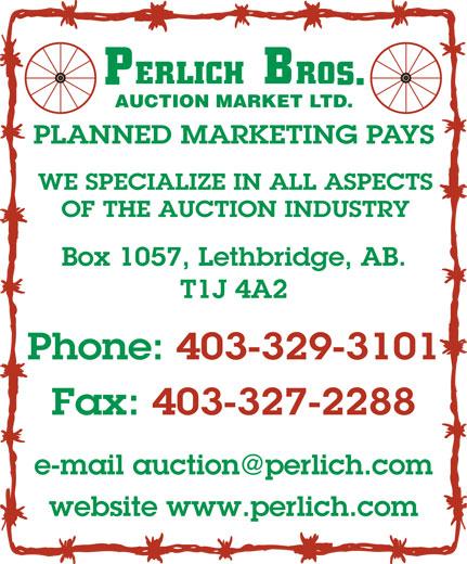 Perlich Bros Auction Market Ltd (403-329-3101) - Display Ad -