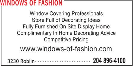 Windows of Fashion (204-896-4100) - Annonce illustrée======= -
