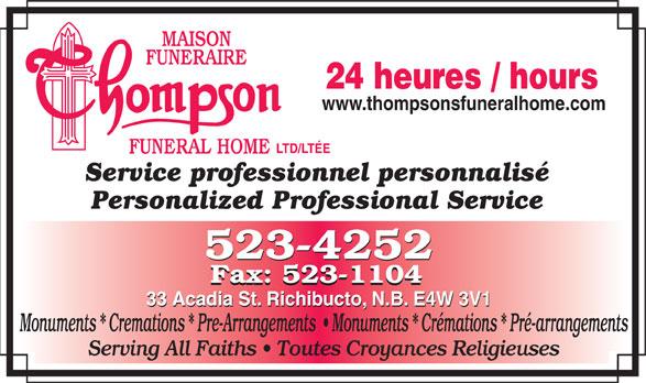 Thompson Funeral Home Ltd (506-523-4252) - Display Ad -