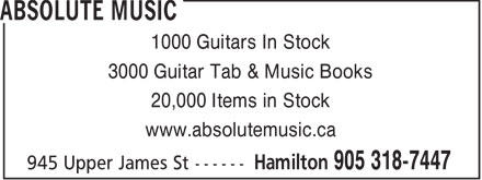 Absolute Music (905-318-7447) - Annonce illustrée======= - 1000 Guitars In Stock 3000 Guitar Tab & Music Books 20,000 Items in Stock www.absolutemusic.ca  1000 Guitars In Stock 3000 Guitar Tab & Music Books 20,000 Items in Stock www.absolutemusic.ca  1000 Guitars In Stock 3000 Guitar Tab & Music Books 20,000 Items in Stock www.absolutemusic.ca
