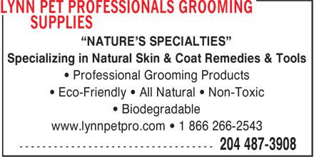 Lynn Pet Professionals Grooming Supplies (204-487-3908) - Annonce illustrée======= -