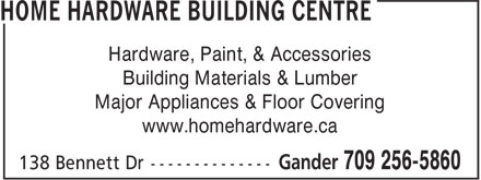 Aylwards Home Hardware Building Centre (709-256-5860) - Display Ad - Hardware, Paint, & Accessories Building Materials & Lumber Major Appliances & Floor Covering www.homehardware.ca