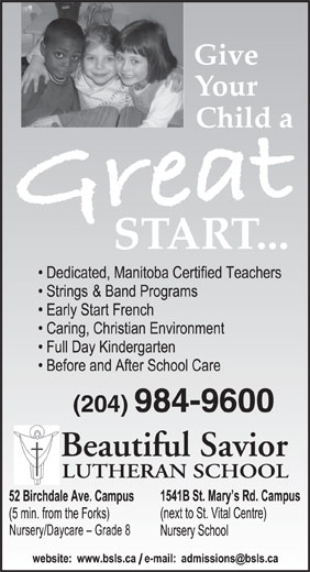 Beautiful Savior Lutheran School (204-984-9600) - Annonce illustrée======= - (204) 984-9600