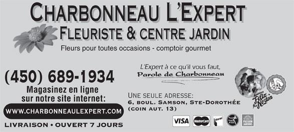 Charbonneau L'Expert Fleuriste (450-689-1934) - Annonce illustrée======= -