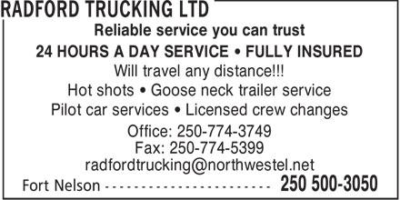 Radford Trucking Ltd (250-500-3050) - Annonce illustrée======= -