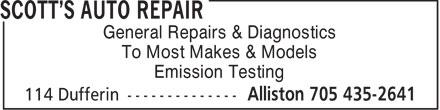 Scott's Auto Repair (705-435-2641) - Display Ad - General Repairs & Diagnostics To Most Makes & Models Emission Testing