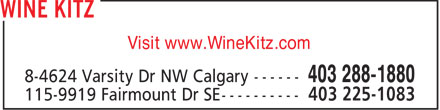 Wine Kitz Varsity (403-288-1880) - Display Ad - Visit www.WineKitz.com